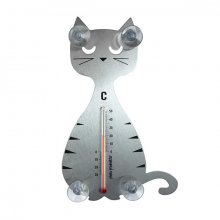 Thermometer 'Katze' silber