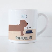 Tasse für Kinder 'Long Dog' mit Name und Text