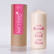 Kerze 'good friends' pink