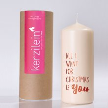 Kerze 'All i want for christmas…'