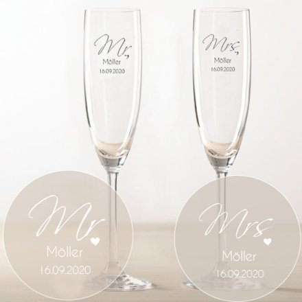 Sektglas-Set 'Mr & Mrs' mit Namen und Datum