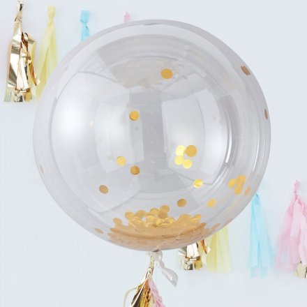 3er-Set XL Konfetti-Ballon, gold