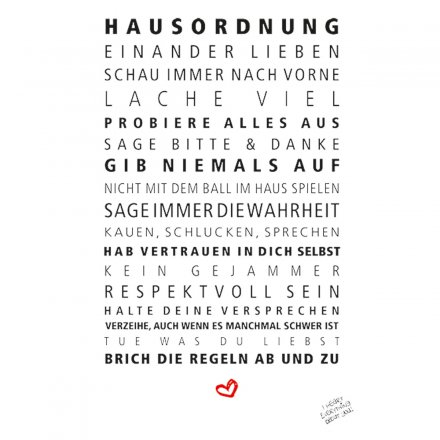 Formart  Statement-Poster 'Hausordnung' Din A4