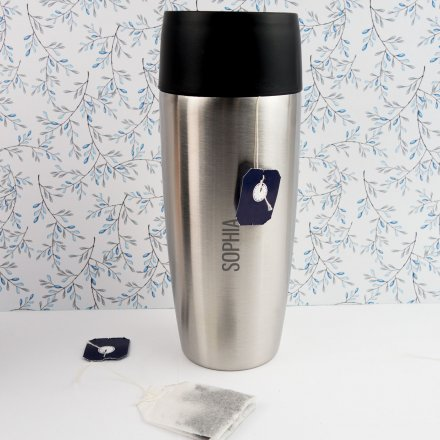 Personalisierbarer Thermobecher mit Name silber