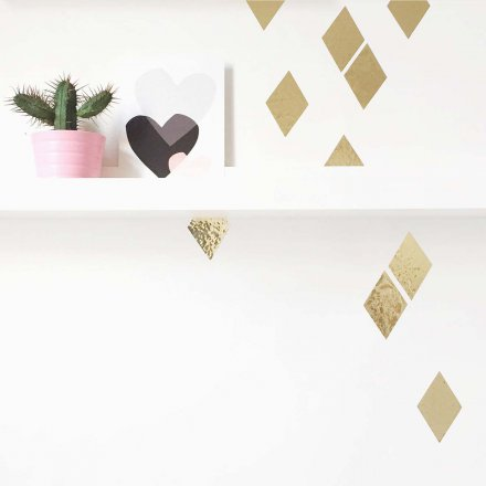 Wandsticker Glanzrauten gold 16er-Set