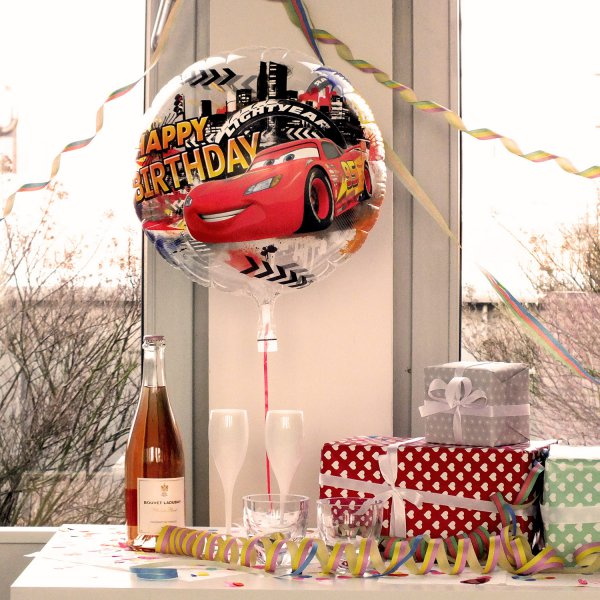 Heliumbefüllter Luftballon 'Happy Birthday Cars'