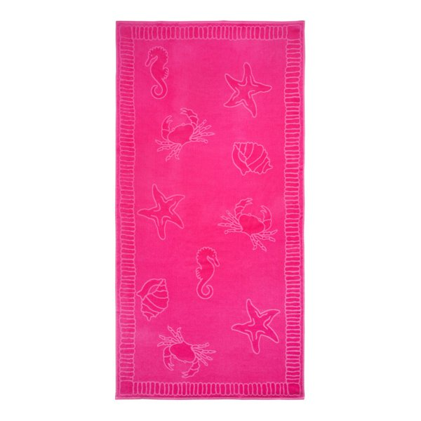 Personalisierbares Strandtuch Seafood fuchsia