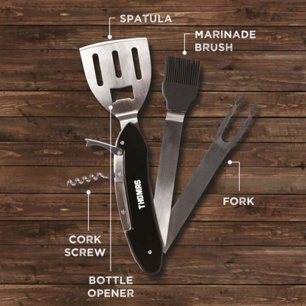 Personalisierbares BBQ Grillbesteck '5-in-1' Name