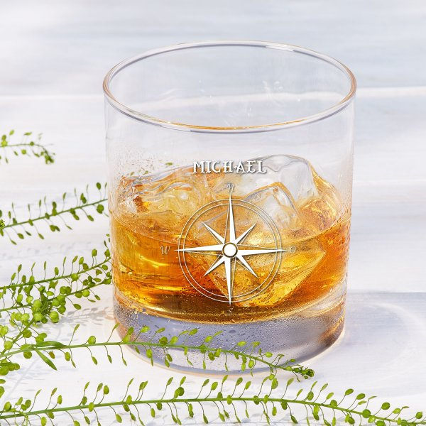 Whiskyglas 'Kompass' mit Name