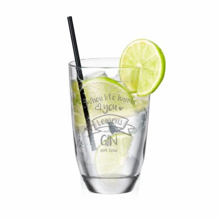 GIN-Glas mit Gravur When life hands you Lemons - make a GIN and tonic